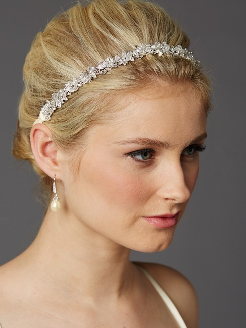 Mariell Silver Slender Headband with Hand-wired Crystal Clusters and Ivory Ribbons 4431hb-i Hair Accessory Mariell Silver Slender Headband with Hand-wired Crystal Clusters and Ivory Ribbons 4431hb-i Hair Accessory Image 1