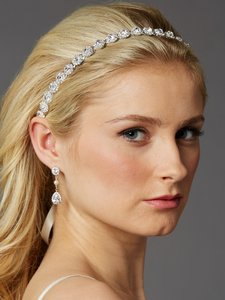 Mariell Silver Bridal Headband With Genuine Preciosa Crystals 4455hb-s-i