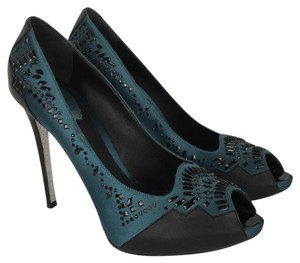 Rene Caovilla Teal & Black Pumps