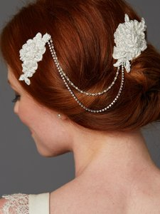 Mariell Ivory Double English Rose Lace Combs with Pearl and Crystal Swags 4450hc-lti Hair Accessory