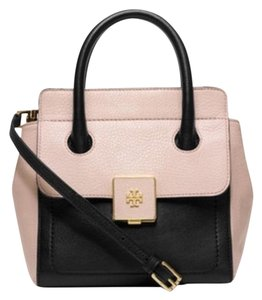 Tory Burch Clara Small Tote in Black and Pink