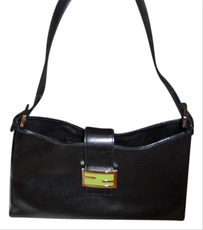 61492be229bd Fendi - Salleria Baquete Black W Lime and Chrome Buckle Leather ...