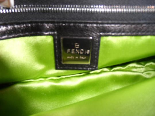 Fendi Vintage Leather Satchel in Black w Lime and Chrome Buckle