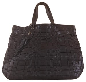 Prada Leather Handbag Interwoven 4 Silver Feet Magnetic Closure Zippered Pocket Fringed Tag Tote in Black
