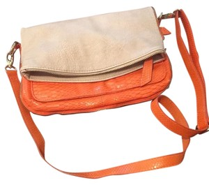 Big Buddha Orange Leather Foldover Cross Body Bag