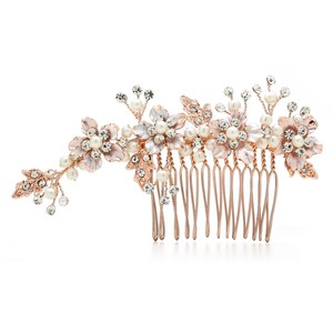 Mariell Brushed Rose Gold And Ivory Pearl Wedding Comb H001-rg