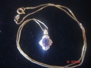Unknown AMETHYST & ZIRCONIA GOLD OVER STERLING SILVER 925 PENDANT 18