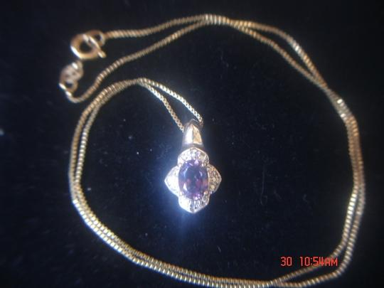 """Unknown AMETHYST & ZIRCONIA GOLD OVER STERLING SILVER 925 PENDANT 18"""" BOX CHAIN NWOT"""