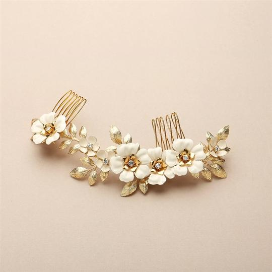 Mariell Gold Hand Enameled Tea Rose Designer Comb 4480hc-i-g Hair Accessory