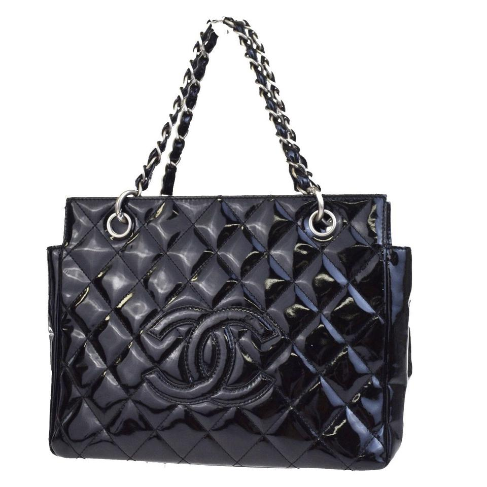 3612f5ee91 Chanel Tote Bag Petite Timeless Shopper Black Patent Leather Satchel ...