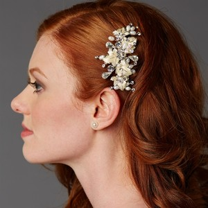 Mariell Couture Bridal Hair Comb With Hand Painted Gold Leaves Freshwater Pearls And Crystals 4439hc-i-ltg