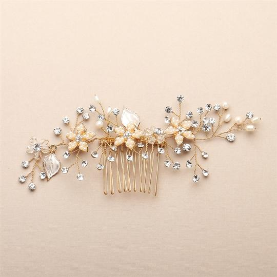 Mariell Gold Comb with Silvery Leaves Freshwater Pearl and Crystal Sprays 4425hc-i-g Hair Accessory
