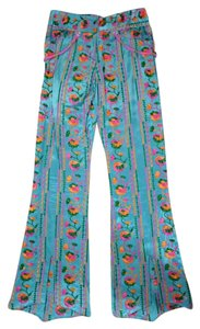 Marchesa Voyage Embroidered Embellished Flare Pants Multi-color