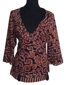 Tory Burch Top Rusty brown and black