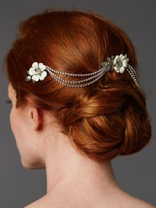 Mariell Silver/Ivory / Triple Comb Enamel Headpeice with Crystal Swags 4449hc-i-s Hair Accessory
