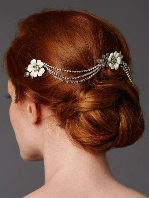 Mariell Silver/Ivory / Triple Comb Enamel Headpeice with Crystal Swags 4449hc-i-s Hair Accessory Mariell Silver/Ivory / Triple Comb Enamel Headpeice with Crystal Swags 4449hc-i-s Hair Accessory Image 1