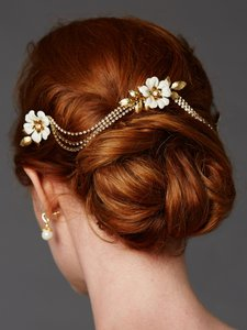 Mariell Gold / Ivory Triple Comb Enamel Bridal Headpeice With Crystal Swags 4449hc-i-s