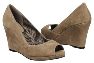 Chinese Laundry Open Toe Suede Leather Taupe Wedges