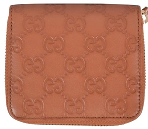 Gucci Gucci Women's 346056 TAN Leather GG Guccissima French Zip Wallet