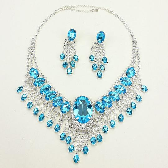 Other Elegant Design Silver Aqua Blue Crystal Necklace Bib Collar Drop Dangle Earring Set