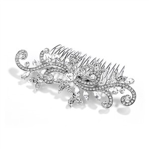 Mariell Silver Wedding Or Bridal Hair Comb With Pave Crystal Vines 4027hc-g