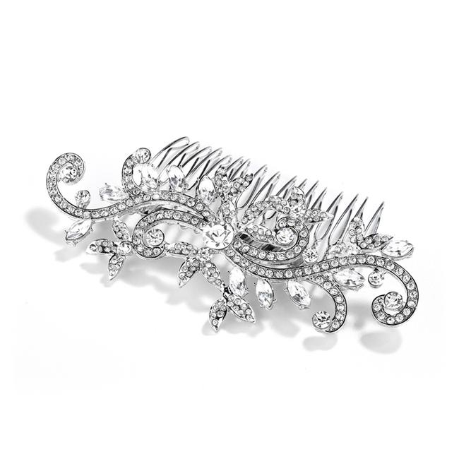 Mariell Silver Or Comb with Pave Crystal Vines 4027hc-g Hair Accessory Mariell Silver Or Comb with Pave Crystal Vines 4027hc-g Hair Accessory Image 1