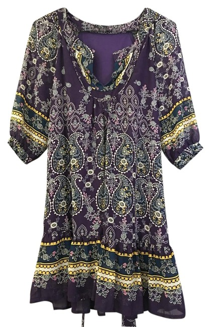 Item - Colorful (Purple Yellow White Blue) Summer Mid-length Short Casual Dress Size 2 (XS)