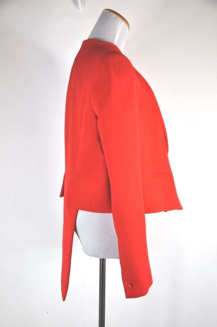 Givenchy Collarless Wool Single Button Size 38 Red Blazer