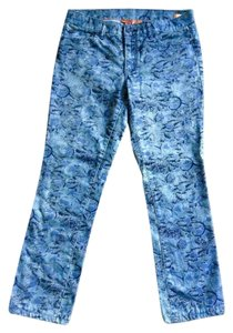Tory Burch Straight Pants BLUE/BLACK PRINT