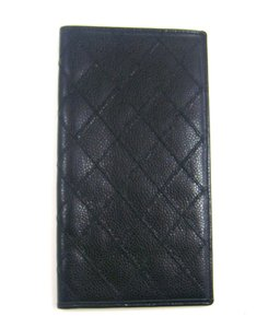 Chanel Black Quilted Leather Long Bifold Wallet France w/ Box