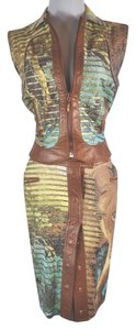 Roberto Cavalli Roberto Cavalli Tiger Face Print Leather Skirt Matching Vest Size XS/S