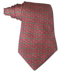Hermès Authentic Hermes Red 100% Silk Green & Gold Zig-Zag Classic Men's Tie