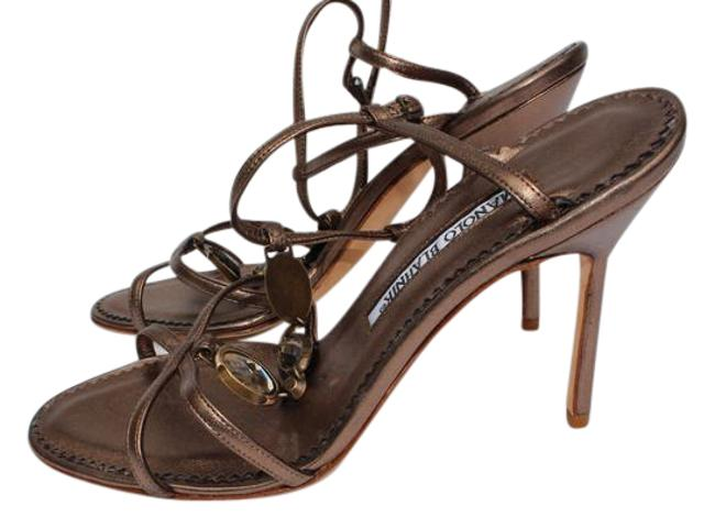Manolo Blahnik Bronze Sandals Size US 7 Regular (M, B) Manolo Blahnik Bronze Sandals Size US 7 Regular (M, B) Image 1