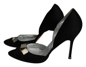 Manolo Blahnik Black Satin Pumps