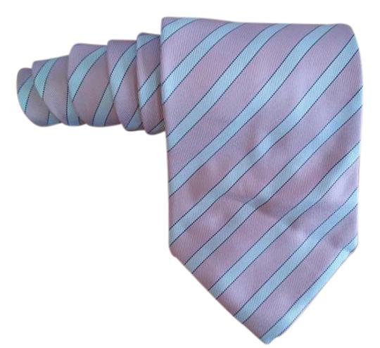 Giorgio Armani Giorgio Armani Pink & Light Blue Diagonal Striped Silk Men's Wide Tie