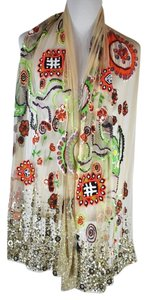 Etro Etro Ivory Mesh Beaded Sequin Floral Scarf