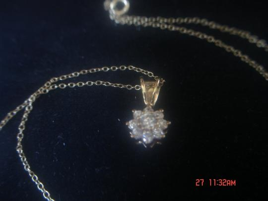 "Unknown STARBURST ZIRCONIA GOLD OVER STERLING SILVER PENDANT 18"" FINE LINK CHAIN NWOT"