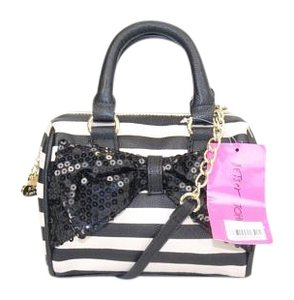 Betsey Johnson Stripes Bow Satchel in Black and White