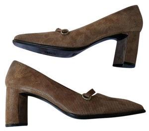 Delman Nubuck Leather Brown Pumps