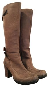Børn Born Zipper Buckle Leather Taupe Boots