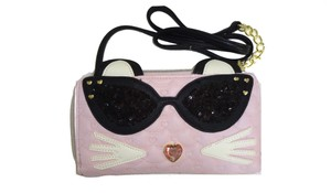 Betsey Johnson WALLET ON A STRING/PINK QUILTED/CAT /SEQUIN SUNGLASSES/POM POM TAIL