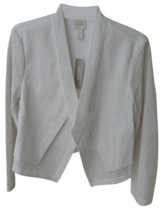Chico's Faux Leather Perforated Rv $149 Antique White Jacket