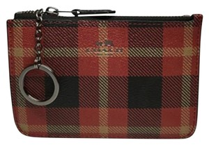 Coach Coach F55990 Riley Plaid PVC Key Coin Pouch Atlantic Multi: MSRP $65