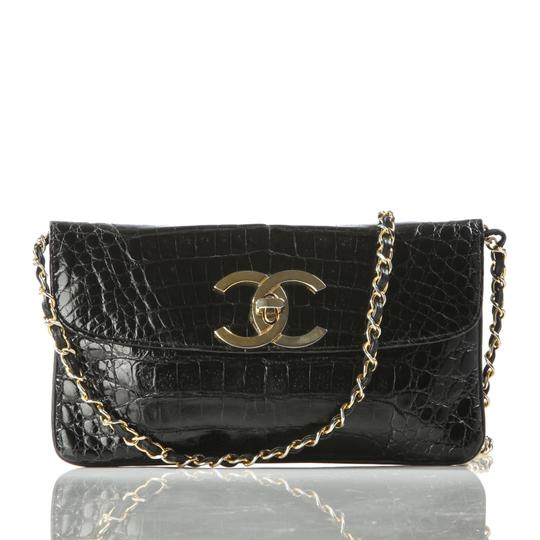 Chanel Vintage Rare Crocodile Black Clutch
