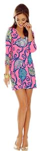 Lilly Pulitzer short dress Pink with navy, yellow, turquoise and white leaf designs. on Tradesy