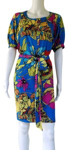 Jones New York short dress Multi-color Floral Tropical Belt Half Button Colorful on Tradesy