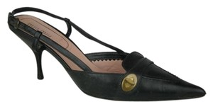 Miu Miu Pink Slingback Leather BLACK Mules