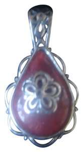 Unknown DEEP ORANGE GEMSTONE TEAR DROP SHAPED STERLING SILVER BACK FILIGREE PENDANT NWOT