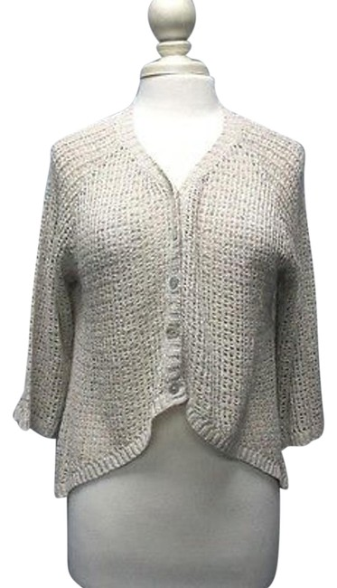 Item - Beige Sleeve Open Weave Button Front High Low Sweater Sma10363