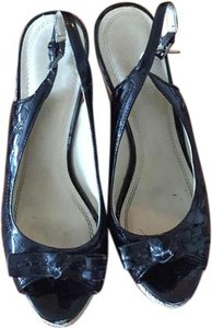 Enzo Angiolini Patent Patent Leather Wicker Black Wedges